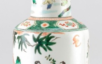 CHINESE FAMILLE VERTE PORCELAIN VASE In rouleau form, with a mythological figural landscape design. Six-character Kangxi mark on bas...