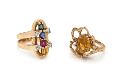 COLLECTION OF YELLOW GOLD GEMSTONE RINGS