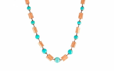 COLLIER WITH TURQUOISE AND GOLD CYLINDERS Handmade necklace made in...