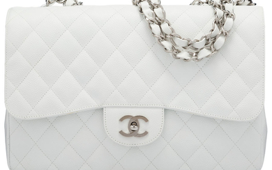 Chanel White Quilted Caviar Leather Flap Bag with Silver...
