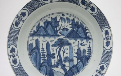 Charger - Blue and white - Porcelain - A Large Blue And White Landscape Charger- China - Jiajing (1522-1566)