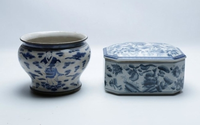 Chinese Blue & White Jardiniere with a Lidded Box height - 13.5cm