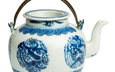 Chinese Blue and White Porcelain Dragon Teapot, with