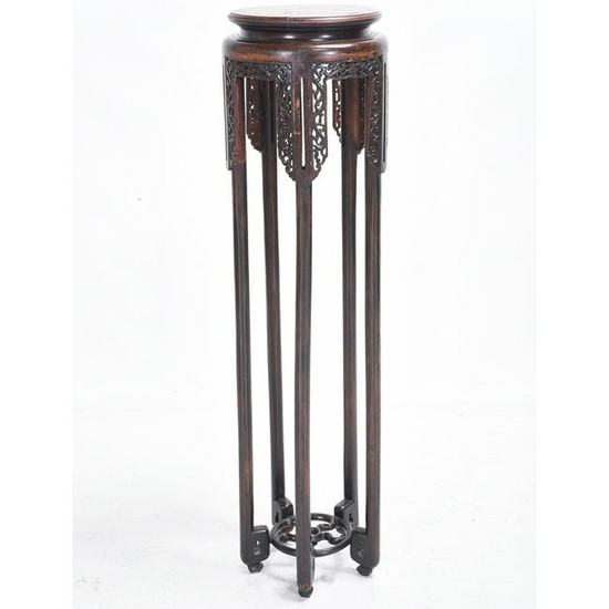 Chinese Carved Circular Rosewood Stand*