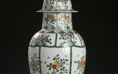 Chinese Famille Rose Baluster Vase and Cover