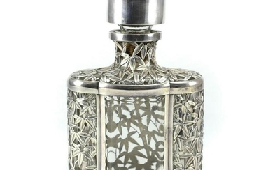 Chinese Sterling Silver Mounted Glass Decanter