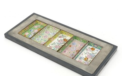 Chinese pewter tray housing five Canton enamel dishes, each ...