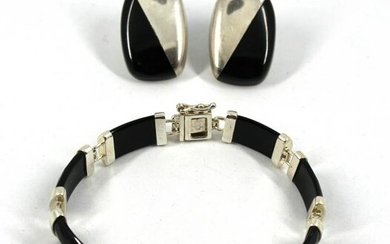 Contemporary Modern Silver & Faux-Onyx Jewelry