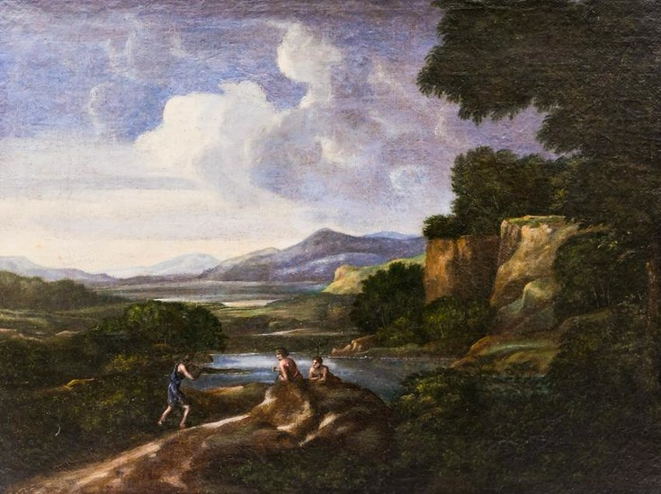 Continental School 18th Cent. Landscape Oil on Canvas