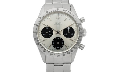 DAYTONA, REF 6239 STAINLESS STEEL CHRONOGRAPH WRISTWATCH WITH BRACELET AND 'S&L ACERO' SIGNED CASE BACK CIRCA 1965