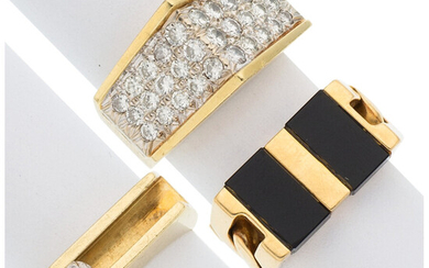 Diamond, Black Onyx, Gold Rings The lot consists of...