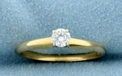 Diamond Solitaire Engagement or Promise Ring in 14K