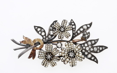 Diamonds and seed pearls floral brooch, 19th Century.
