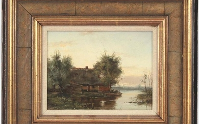 Dutch landscape with farm on a lake with moored rowing