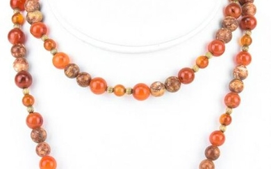 Estate Chinese Carnelian & Moss Agate Necklace