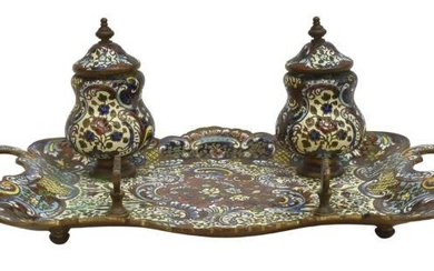 FRENCH CHAMPLEVE ENAMEL ENCRIER DOUBLE INKWELL