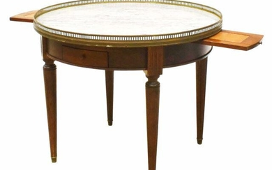 FRENCH LOUIS XVI STYLE MARBLE-TOP BOUILLOTTE TABLE