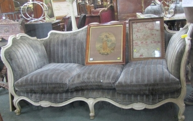 FRENCH STYLE SETTEE, a painted and carved triple seater sett...