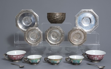 Five Chinese famille rose and silver cups and...