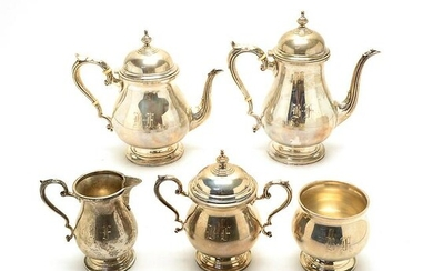 Five Piece Fisher Sterling Tea Service.