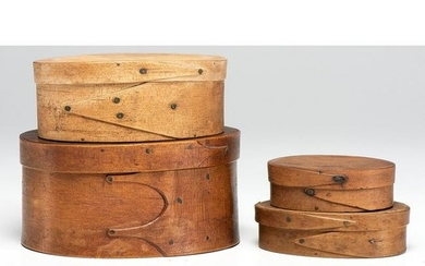 Four Oval Bentwood Pantry Boxes