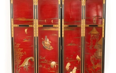 Four-leaf black and gold lacquered wooden screen decorated with an animated lakescape on a red