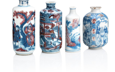 Four underglaze blue and copper-red snuff bottles