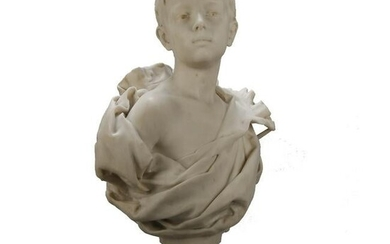 French Classical Marble Sculpture of Boy by Nelson
