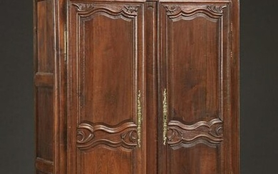 French Louis XV Style Carved Oak Armoire, early 19th