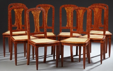 French Set of Eight Louis XVI Style Elm Dining Chairs