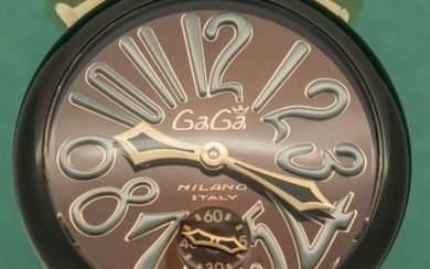 GaGà Milano - Mechanical Manuale 48MM Rose Gold Chocolate Dial Swiss Made - 5014.02S- Unisex - Brand New