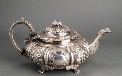 George IV Irish Silver Repousse Teapot, 19th C.