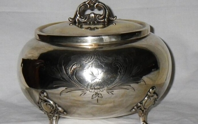 German Silver Sugar Box - .800 silver - Germany - Late 19th/ early 20th century