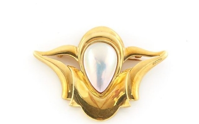 Gold and Cultured Pearl Pin