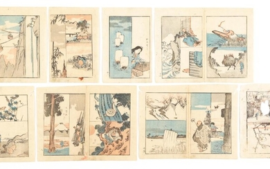 Group of Eight Japanese Woodblock Print Book Pages FR3SHLM