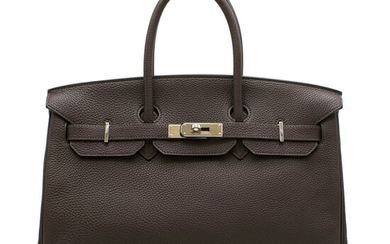 HERMÈS | EBENE BIRKIN 35 IN TOGO LEATHER WITH PALLADIUM HARDWARE, 2010