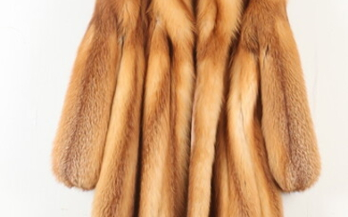 HONEY-COLORED FOX FUR COAT WITH COPPER-COLORED SATIN LINING, No label....