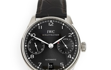 IWC: A gentleman's wristwatch of 18k white gold. Model Portuguese, ref. IW500106. Mechanical movement with automatic winding, cal. C.51011. 2009.