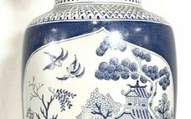 Intricately Detailed Porcelain Chinoiserie Lamp