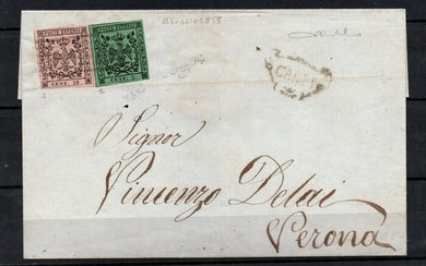Italian Ancient States - Modena 1852 - 5 and 10 cents without dot on letter from Carpi to Verona - Sassone NN. 1, 2