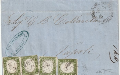 Italian Ancient States - Sardinia 1862 - 5 c. olive green 4 pieces on letter from Messina to Naples - Sassone N. 13C