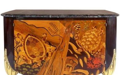 Italian Art Deco Style Marble-Top Cabinet with