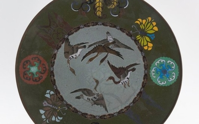 """JAPANESE CLOISONNÉ ENAMEL PLATE Central goose design surrounded by a floral rondel and butterfly border. Diameter 12""""."""