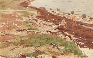 Johannes Boesen: Coastal scene with two boys skipping stones. Signed and dated with monogram, 73. Oil on canvas. 23×33 cm.
