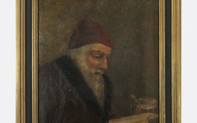 L. KLINE, Circa 1930 Oil/c Rabbi Reading Scripture Book