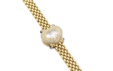 LADY'S MOTHER-OF-PEARL, SAPPHIRE AND DIAMOND WRISTWATCH, 'HAPPY DIAMONDS', CHOPARD