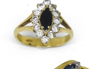 LOT of TWO GOLD RINGS, and fancy stones, accidents, sold for scrap. Gross weight 6.5 g