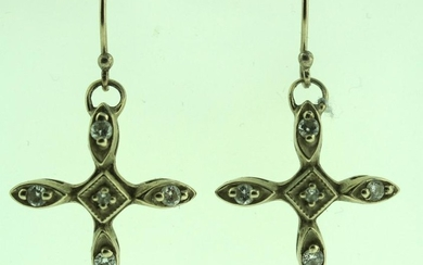 LOVELY C. 1990 WHITE GOLD DIAMOND CROSS EARRINGS ON