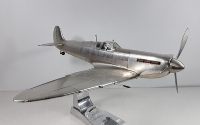 Large AM (authentic models) Spitfire on stand with signed pl...