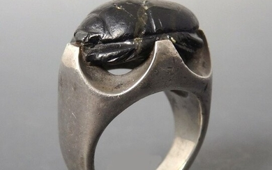 Large Ancient Egyptian Carved Serpentine Scarab Ring - 16mm length
